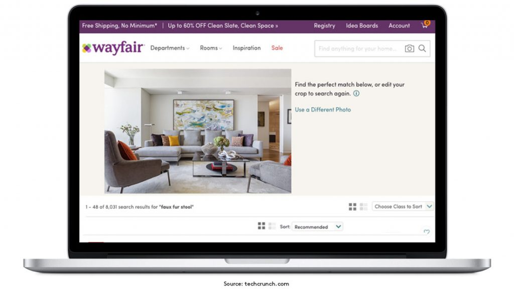 Outside Insight Wayfair visual search tool